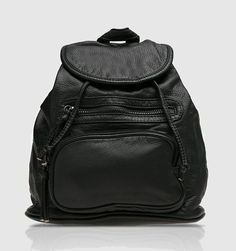 Odell Maxx Backpack by Ivria Idalys. A stylish backpack with faux leather material , front pocket, single compartment, drawstring and magnetic closure. Stylish black faux leather backpack suitable for everyday use. http://www.zocko.com/z/JG7I3