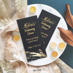 Black and gold theme birthday and event stationery/invitation design. DLE card.