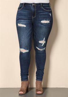 Plus Size Clothing | Plus Size High Rise Distressed Skinny Jeans | www.DEBSHOPS.com #plussize #debshops