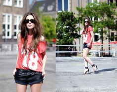 NUMBER TEE AND LEATHER SHORTS  BY CINDY V., 27 YEAR OLD BLOGGER FROM COTTDS FROM AMSTERDAM