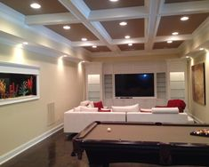basement bar idea with fabulous coffered ceiling design in dark