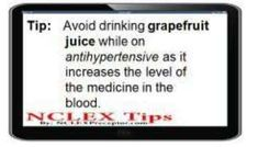 NCLEX Tips for Contraindication of grapefruit juice while on antihypertensive by… Nursing Pneumonics, Nursing Study Tips, Nursing Theory, Nursing Notes, Nursing Board, Rn Nurse, Nurse Life, Nurse Stuff, Nclex Questions