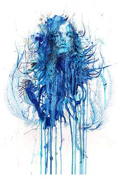 artmonia:    Blue Flowers by Carne Griffiths.