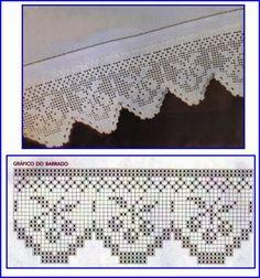 Crochet Edging And Borders Szydełkomania: Bordiury Filet Crochet, Crochet Diy, Crochet Hook Set, Easy Crochet Projects, Crochet Motifs, Crochet Borders, Crochet Chart, Crochet Home, Thread Crochet