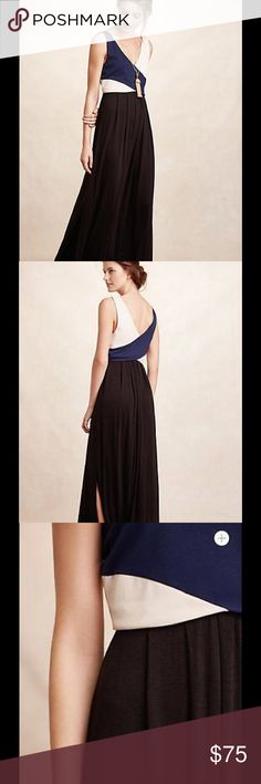 """Anthropologie Maeve Elysian Colorblock Maxi Dress Lovely maxi dress with colorblocking in navy, cream and black and a flattering wrap bodice. Brand is Maeve, purchased at Anthropologie. Size Small, fits true to size for Anthro. Worn 1x, in perfect condition (would have worn this more but I'm on the short side and needed heels with it). Measures 57"""" long. Anthropologie Dresses Maxi"""