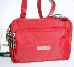 NWT BAGGALLINI Triple Zip CROSS BODY Red Nylon Belt Bag Organizer Travel NEW #Baggallini #CrossBody