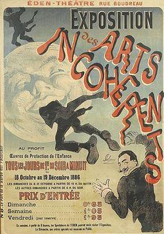"""JULES CHÉRET (1836-1932). EXPOSITION DES ARTS INCOHERENTS. 1886. 46x33 inches, 119x84 cm. Chaix, Paris. More about the """"Incoherents"""" : http://www.artsincoherents.info/histoire_de.html ; http://translate.google.com/translate?hl=en&sl=fr&u=http://www.artsincoherents.info/histoire_de.html&prev=search"""