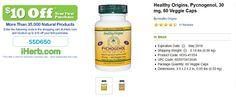 Healthy Origins, Pycnogenol, 30 mg, 60 Veggie Caps   http://iherb.com/Healthy-Origins-Pycnogenol-30-mg-60-Veggie-Caps/49286