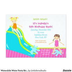 Waterslide Water Party Birthday Invitations