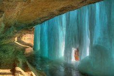 The frozen waterfall, Minnesota.