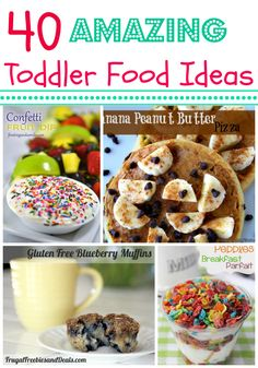 40 Amazing Toddler Food Ideas - if you have a baby that is starting on solids but you're not sure what kind of toddler food ideas to try, here is a great list including snacks, treats, healthy meals, and more! Baby Food Recipes, Snack Recipes, Cooking Recipes, Toddler Recipes, Detox Recipes, Toddler Lunches, Toddler Food, Little Muffins, Do It Yourself Baby