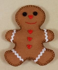 Felt Gingerbread Man Ornament Idea from bearlysaneaust.blogspot; no pattern, try using a cookie cutter for a pattern outline