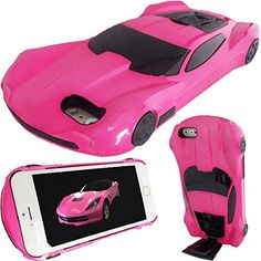 WwWSuppliers New 3D AMERICAN MUSCLE Edition Luxury Race Sports Automobile Car Case for Apple iPhone 6 Plus / 6S Plus Kick-Stand Hard Protective Cover   Screen Protector (Hot Pink) *** More info could be found at the image url.