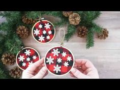 Heres a simple way to make DIY buffalo plaid Christmas ornaments with wooden embroidery hoops. They add a fun rustic appeal to your Christmas decor. See the full tutorial and hundreds of other kid crafts on my website: Buffalo Plaid Christmas Ornaments, Diy Christmas Ornaments, Holiday Crafts, Christmas Bulbs, Christmas Decorations, Decorating Ornaments, Wooden Ornaments, Handmade Ornaments, Winter Christmas