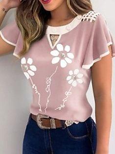 Short Sleeve Button Up, Short Sleeve Blouse, Short Sleeves, Long Sleeve, Trend Fashion, Fashion Looks, Women's Fashion, Fashion Blouses, Casual T Shirts