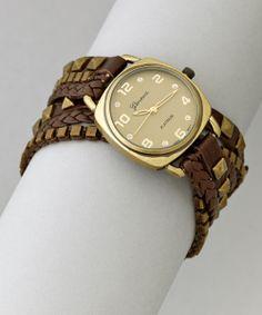 Brass & Dark Brown Wrap Watch