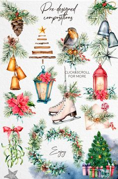 Watercolor Clipart, Watercolor Illustration, Floral Watercolor, Watercolour, Christmas Design, Christmas Art, Vintage Christmas, Xmas, Christmas Wreath Clipart