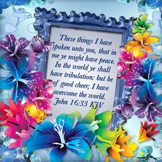 These things I have spoken unto you, that in me ye might have peace. In the world ye shall have tribulation: but be of good cheer; I have overcome the world. Bible Words, Bible Scriptures, Bible Quotes, Trust In Jesus, Trust God, Gods Strength, Strength Quotes, Prayer Images, Psalm 24