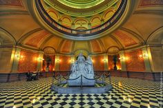 Inside the California State Capitol, Sacramento, CA, statue of Queen Isabella & Christopher Columbus.