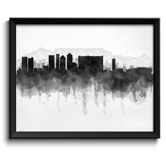 Cape Town Skyline South Africa Cityscape Art Print Poster Black White Grey Watercolor Painting This is for 1 print available by email in several sizes, or printed in your choice of or or Print(s) are designed to fit into standard photo Skyline Tattoo, Cityscape Art, Poster Prints, Art Prints, Photo Center, Cape Town, Watercolor Paintings, South Africa, Black And White