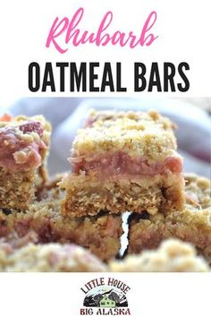 This recipe for Rhubarb Oatmeal Bars will get that last bag of rhubarb right out of the freezer Pair it with another pantry staple, oatmeal, and you& got cookies you can make just about anytime vi - Rhubarb Oatmeal Bars, Rhubarb Bars, Rhubarb Squares, Rhubarb Ideas, Blueberry Squares, Rhubarb Rhubarb, Growing Rhubarb, Oatmeal Cake, Vegan Desserts