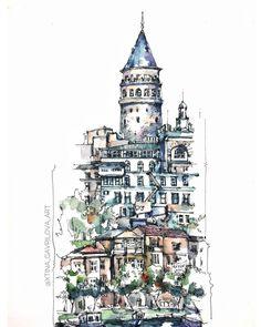 Sketch Watercolor by Гаврилова Кристина (@xtina_gavrilova_art) в Instagram: «Galata tower in Istanbul sketch #aquarell #art #painting #watercolor #sketch #paint #drawing #sketching #sketchbook #travelbook #archisketcher #sketchaday #sketchwalker #sketchcollector #artbook #artjournal #traveldiary #topcreator #usk #urbansketchers #urbansketch #скетчбук #скетч #скетчинг #pleinair #aquarelle #watercolorsketch #usk #architecture #topcreator