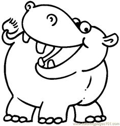 Hippo Coloring Page 05 Printable For Kids And Adults