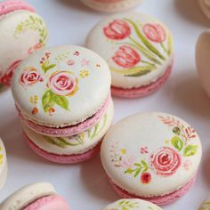 painted rose macarons