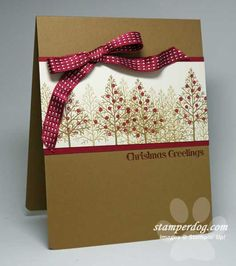 handmade Christmas card ... kraft base ... burgundy and white ... band with stamped and shadoiw stamped twiggy Christmas trees ... some with glitter glue ornaments ... luv the depth ... Stampin' Up!