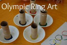 Toilet paper rolls for Olympic Ring Art. Oh yeah. This is how we roll!