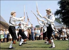 A Morris dance is a form of English folk dance usually accompanied by music. It is based on rhythmic stepping and the execution of choreographed figures by a group of dancers. Implements such as sticks, swords, and handkerchiefs may also be wielded by the dancers. In a small number of dances for one or two men, steps are performed near and across a pair of clay tobacco pipes laid across each other on the floor.