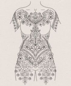 Search inspiration for an Ornamental tattoo. Full Body Henna, Full Body Tattoo, Body Art Tattoos, Hand Tattoos, Sleeve Tattoos, Tatoos, Mandala Sleeve, Henna Mandala, Mandala Tattoo Design