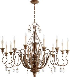 12 Light Chandelier Venice Finish: Vintage Copper crystals
