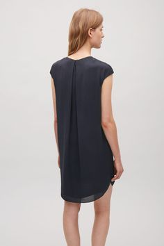COS image 9 of Soft pleat A-line dress in Navy