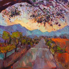 Abstract landscape painting with an impressionistic flair of color and texture, by Erin Hanson.