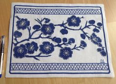 Blue and white cross stitch flower design...31 x 23 cms. Largest cross stitch project so far. Will definitely frame.