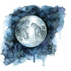 Moon || watercolour