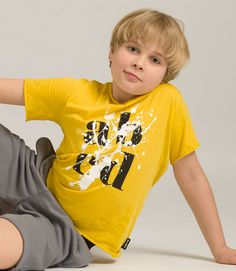 """abcd"" splash yellow t-shirt Blonde Boys, Yellow T Shirt, Cute Boys, Little Boys, Kids Fashion, Mens Tops, Fun, Shirts, Blonde Guys"