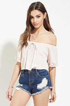 Embroidered Mesh-Trim Crop Top