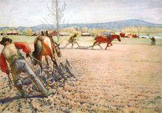 Carl Larsson - Harrowing The Field