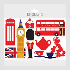 London clipart - England, UK, clip art, travel clipart, tea, bus, double decker, flag, crown, clock tower, telephone booth, teacups. $2.90, via Etsy.
