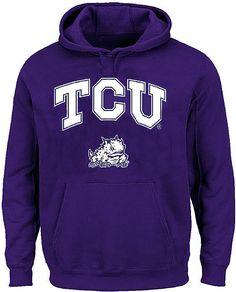 TCU Horned Frogs Mens Purple School Logo Light Weight Screened Hoodie Sweatsweat $39.95