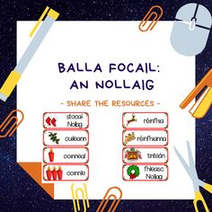 Balla focail an Nollaig. A complete set of 60 Gaeilge Christmas word wall flashcards, complete with pictures to match the words! Poetry Anthology, Job Chart, Spelling Lists, Christmas Words, Classroom Rules, Group Work, Small Groups, Teaching Resources, Vocabulary