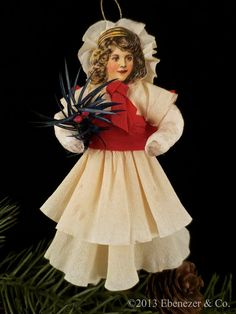 Reproduction Spun Cotton Christmas Ornament of a Girl Dressed in her Holiday Best