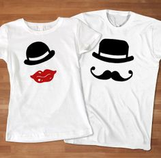 Mr. Mustache and Mrs. Sexy Lips Couple TShirt  by Sarimbittees, $39.00