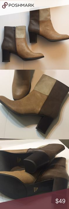 """NWT New York Transit Boots Faux Leather Awesome chic boots with multiple brown color shades size 71/2 2"""" heel ... faux leather never used New York Transit Shoes Heeled Boots"""