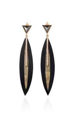 Fossilized Woolly Mammoth And White Diamond Earrings by Monique Péan for Preorder on Moda Operandi
