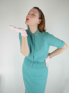 1950s bouclé knit suit  - Courtesy of denisebrain