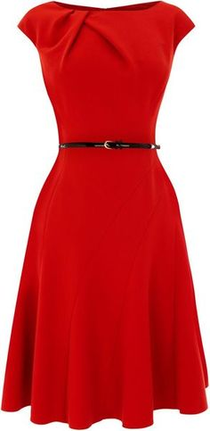 Coast red dress...like the shape, not sure about that bunching on the collar. Makes it look like it was too big and they pinned it up.