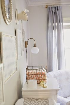 boho chic nursery, gallery wall, lucite curtain rods  designPOST interiors